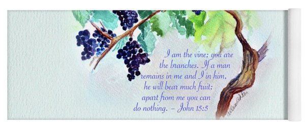 Vine And Branch With Scripture Yoga Mat