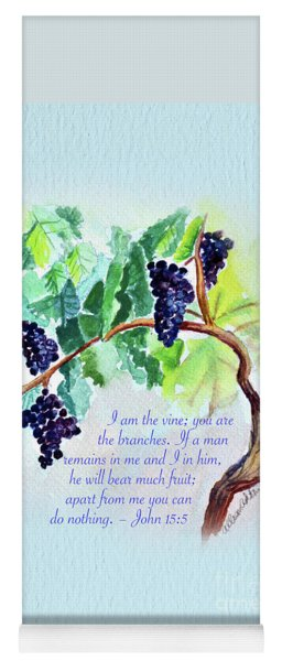Vine And Branch With Scripture - Vertical Yoga Mat