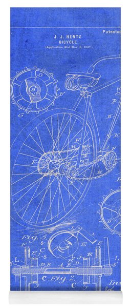 Vintage Bicycle Patent Drawing Yoga Mat
