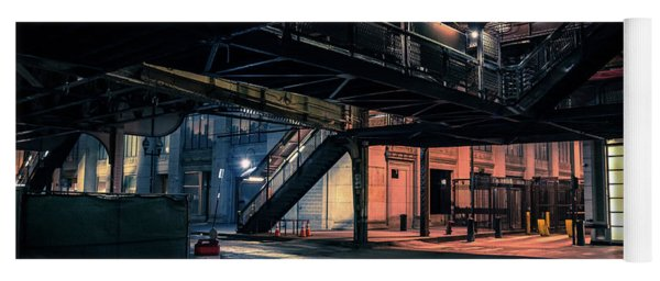 Vintage Chicago L Station At Night Yoga Mat