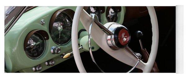 Yoga Mat featuring the photograph Vintage Kaiser Darrin Automobile Interior by Debi Dalio
