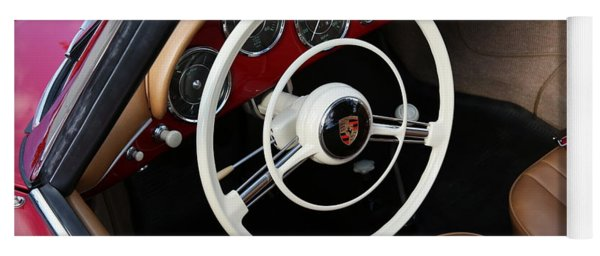 Yoga Mat featuring the photograph Vintage Red Convertible Interior by Debi Dalio