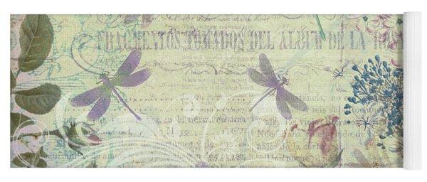 Vintage Romantic Botanical With Dragonflies Yoga Mat