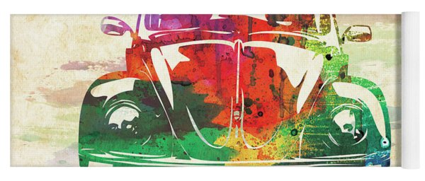 Vw Old Beetle Colorful Watercolor Yoga Mat