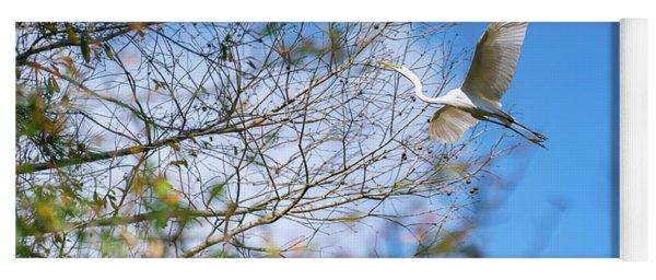 Wacatee Egret In Flight Yoga Mat