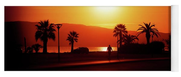 Yoga Mat featuring the photograph Walking Down The Street On Sunset by Milena Ilieva