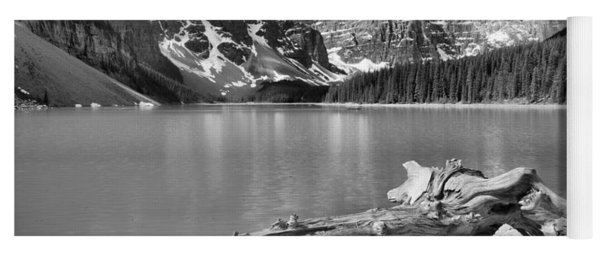 Washed Up At Moraine Lake Black And White Yoga Mat
