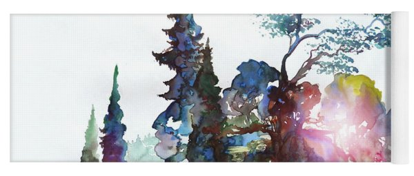 Watercolor Forest And Pond Yoga Mat