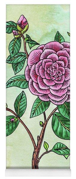 Watercolor Japanese Camellia Flower  Yoga Mat