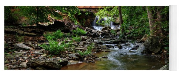 Waterfall With Wooden Bridge Yoga Mat