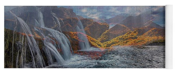 Waterfalls In The Mountains Yoga Mat