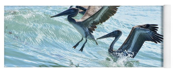 Wave Hopping Pelicans Yoga Mat