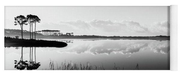 Western Lake Misty Morning Panorama Black $ White Yoga Mat