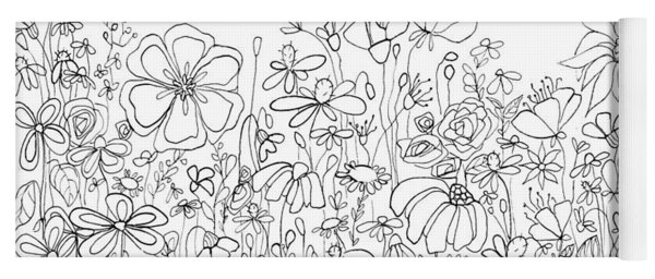 Whimsical Flower Garden, Line Art Doodles Yoga Mat