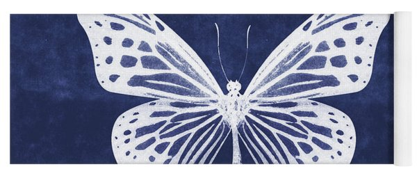White And Indigo Butterfly- Art By Linda Woods Yoga Mat