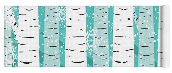 White Birch And Snow Yoga Mat