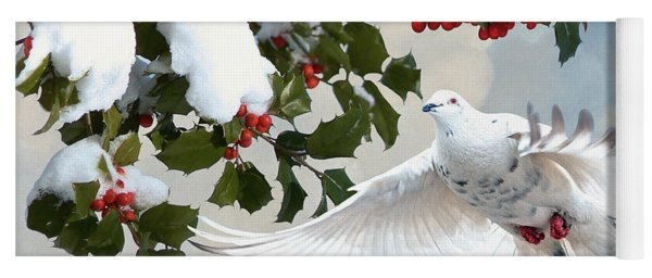 White Dove And Holly Yoga Mat