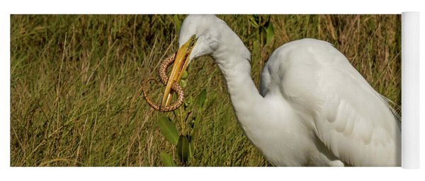 White Heron With Snake Yoga Mat
