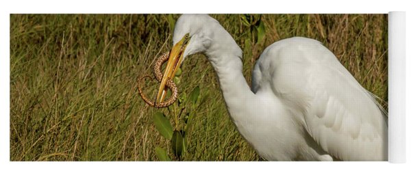 White Heron With Snake Yoga Mat