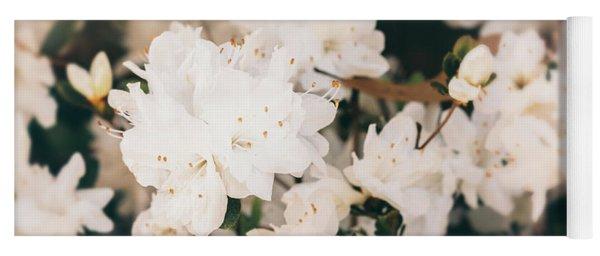 White Mini Azaleas #floral Yoga Mat