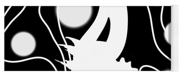 White On Black Lost Tail Yoga Mat