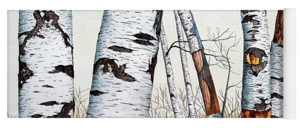 Wild Birch Trees In The Forest In Watercolor Yoga Mat
