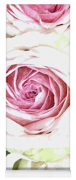 Wild Pink Roses Yoga Mat