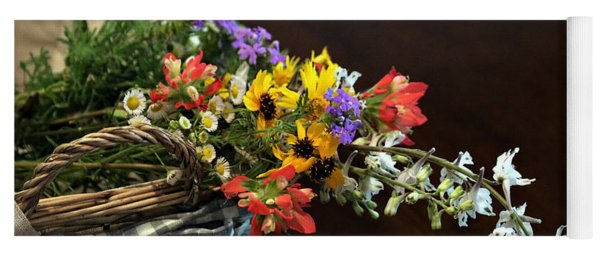 Wildflowers In A Basket On Black Yoga Mat