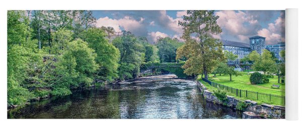 Willimantic River With Clouds Yoga Mat