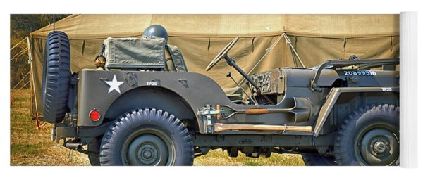 Yoga Mat featuring the photograph Willys Jeep U S A 20899516 At Fort Miles by Bill Swartwout Fine Art Photography