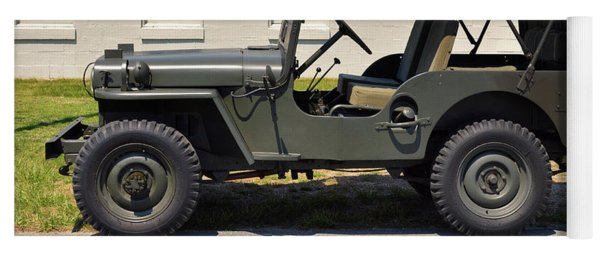 Yoga Mat featuring the photograph Willys Jeep Usa With Canopy At Fort Miles by Bill Swartwout Fine Art Photography
