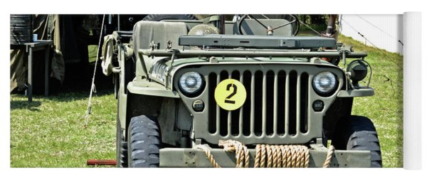 Yoga Mat featuring the photograph Willys Jeep With Machine Gun At Fort Miles by Bill Swartwout Fine Art Photography