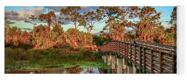 Yoga Mat featuring the photograph Winding Waters Boardwalk by Tom Claud