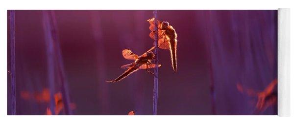 Winged Wonders - Dragonflies At Sunset Yoga Mat