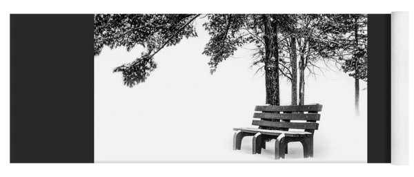 Yoga Mat featuring the photograph Winter Bench  by Michael Arend