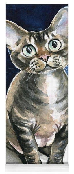 Winter Devon Rex Cat Painting Yoga Mat