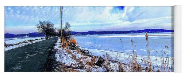 Winter Hudson River Causeway Yoga Mat