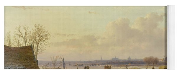 Winter Landscape With Skaters, Haarlem In The Distance Yoga Mat