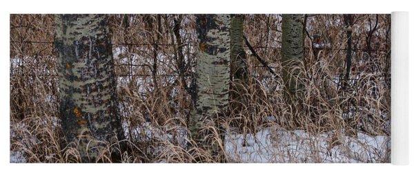 Winter Snow Fall Grass Yoga Mat