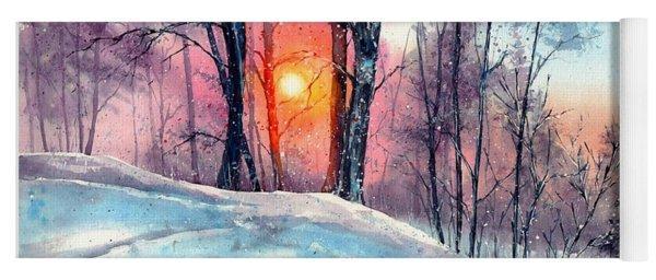 Winter Woodland In The Sun Yoga Mat