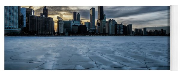 Wintry Dusk Scene On Chicago's Lakefront  Yoga Mat