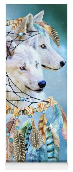 Yoga Mat featuring the mixed media Wolf Dreams by Carol Cavalaris