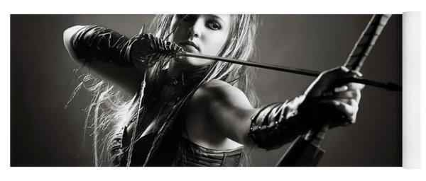 Woman Archer Aiming Arrow Yoga Mat