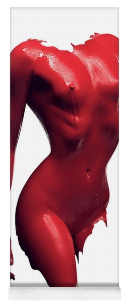 Woman Body Red Paint Yoga Mat