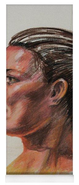 Woman Head Study Pastel Portrait  Yoga Mat
