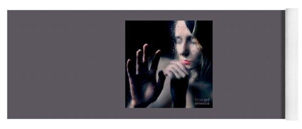 Woman Portrait Behind Glass With Rain Drops Yoga Mat