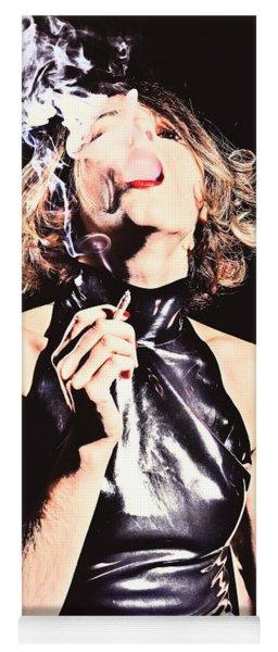 Woman Smoking A Cigarette Yoga Mat