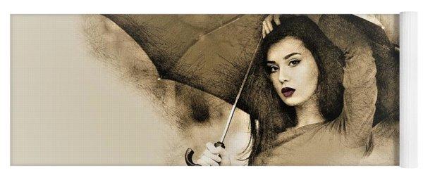 Woman With A Umbrella Yoga Mat