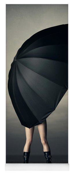 Woman With Huge Umbrella Yoga Mat