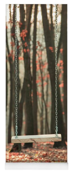 Wooden Swing In Autumn Forest Yoga Mat